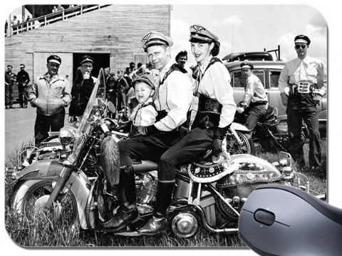 American Motorcycle Family Mouse Mat. Fun Classic Vintage Motorbike Mouse Pad